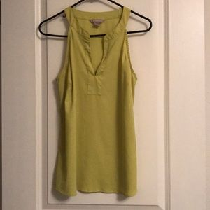 Split neck banana republic chartreuse blouse